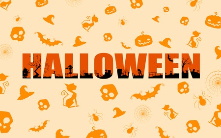 illustration of Halloween background with pattern Vector