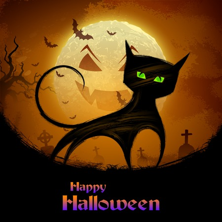 illustration of scary cat in Halloween night Vector