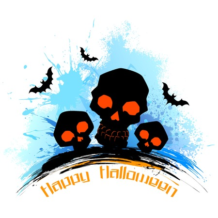 illustration of scary skull in grungy Halloween background Vector