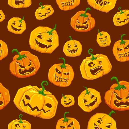 illustration of set of pumpkin seamless background for Halloween Vector