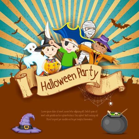 espantapajaros: Ilustración de los niños en diferentes disfraces para Halloween Party Vectores