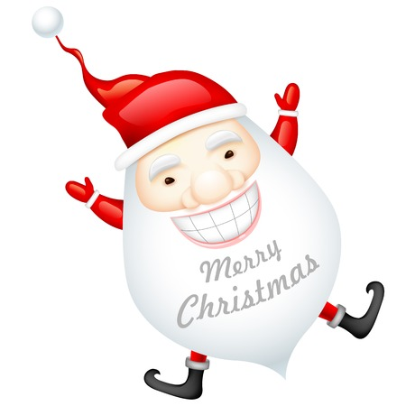 illustration of happy Santa Claus wishing Merry Christmas Vector