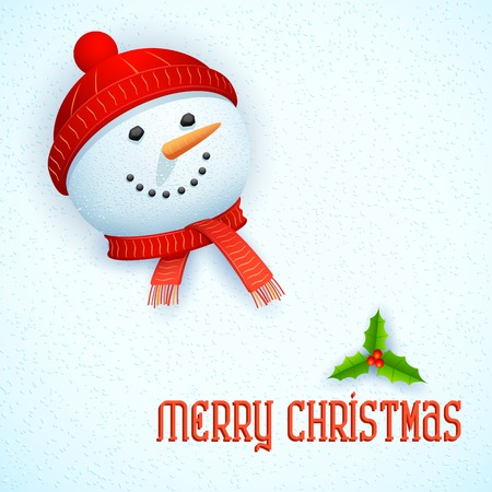 frosty the snowman: illustration of snowman wearing scarf in Christmas Card Illustration