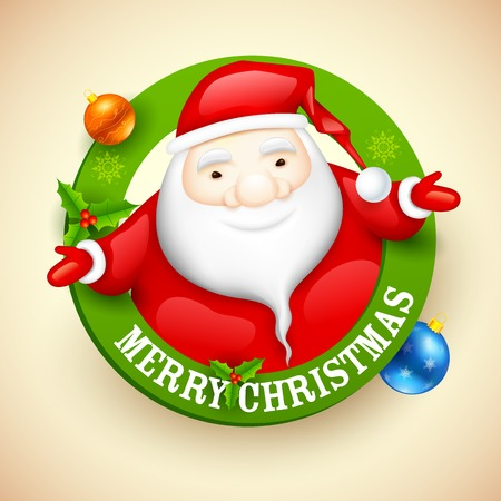 illustration of Santa wishing Merry Christmas Vector