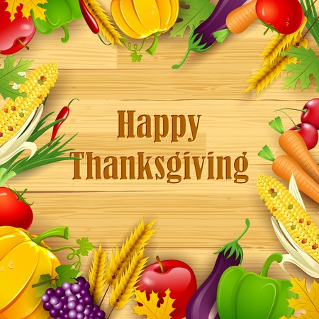 festival of the grape harvest: illustration of Happy Thanksgiving background with fruit and vegetable frame