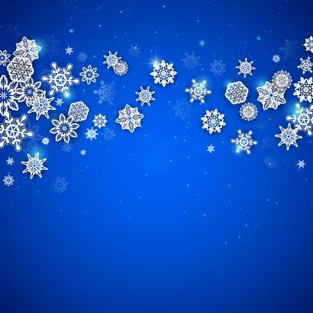illustration of snowflakes Christmas background with copyspace Vector