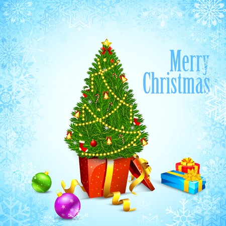 illustration of Christmas background with pine tree Vector