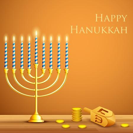 Illustration de bougie allumée dans Hanukkah Menorah avec Dreidel Banque d'images - 25737326