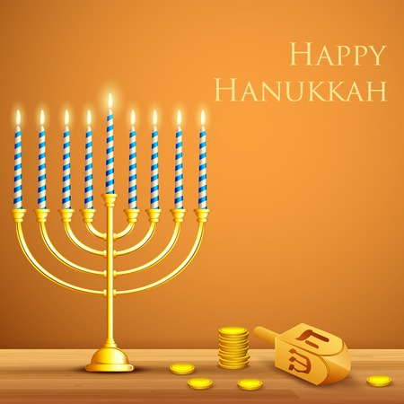 happy hanukkah: illustration of burning candle in Hanukkah Menorah with Dreidel