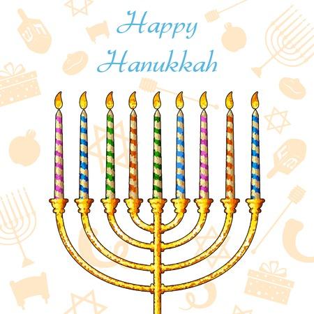 channukah: illustration of Hanukkah candle on festive pattern background Illustration