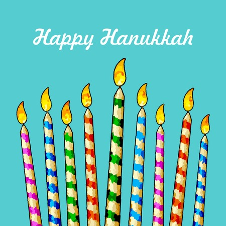channukah: illustration of burning candle in Hanukkah Menorah with star of david