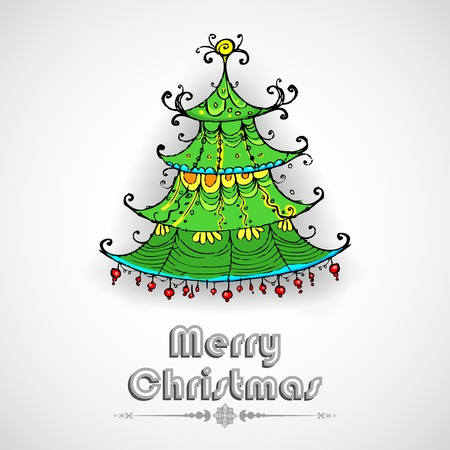 illustration of decorated pine tree on Christmas card Vector