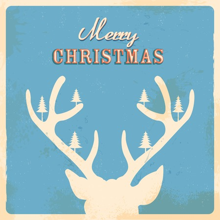 illustration of Christmas Reindeer in retro holiday background Vector