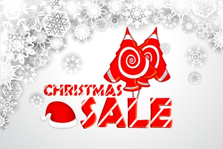 illustration of Christmas Sale background with Santa Cap Vector