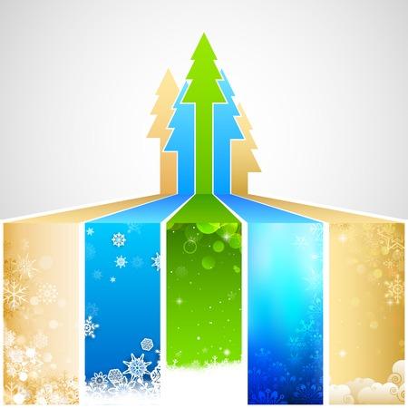 albero pino: illustrazione del Sfondo di Natale con albero di pino ans fiocchi di neve Vettoriali