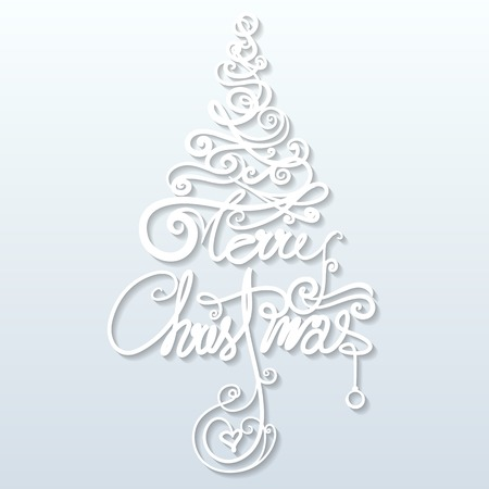 illustration of Merry Christmas in tree shape with paper swirl Vector
