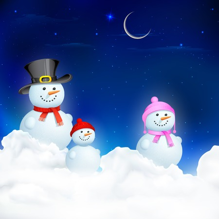 illustration of Snowman Family in Christmas Night Vector
