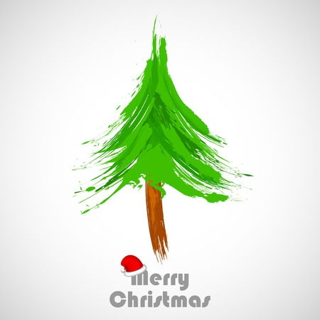illustration of abstract grungy Christmas Tree Vector