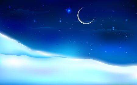 schneelandschaft: Illustration der verschneiten Nacht-Landschaft