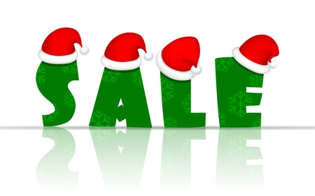 illustration of Christmas Sale banner with Santa cap Vector