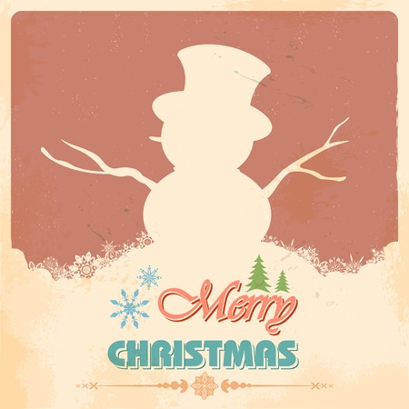 illustration of Snowman in retro Merry Christmas Vector