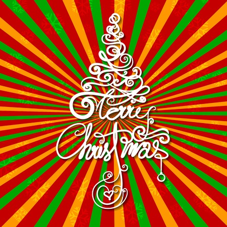 illustration of Merry Christmas swirly tree on retro background Vector