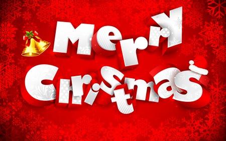 merry christmas text: ilustraci�n del texto de la Feliz Navidad en los copos de nieve de fondo