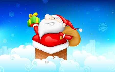 illustration of Santa CLaus entering through fire place pipe with gift Vector