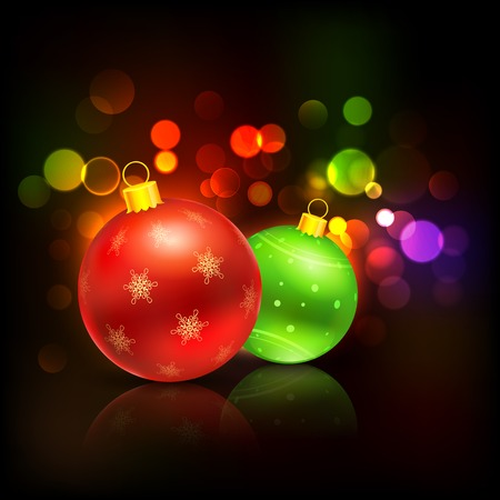 illustration of decorated bauble in Christmas background Vector