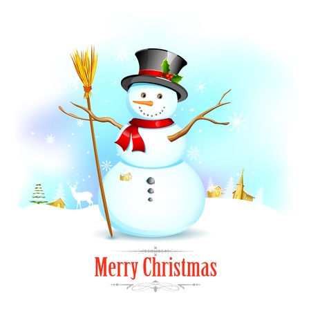 illustration of Snowman with broom in Christmas Background Vector