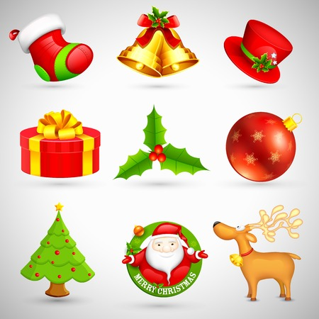 illustration of collection of Christmas icon based object Vector
