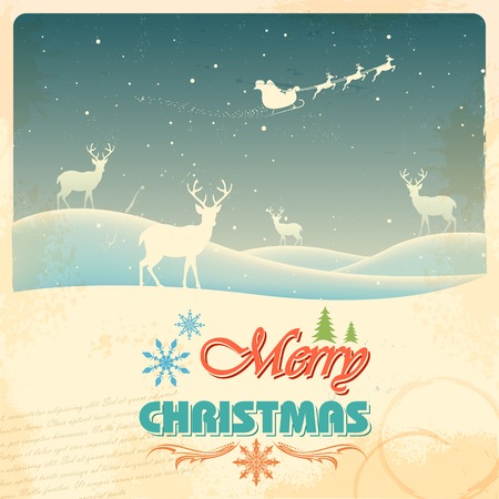 illustration of Reindeer in retro Christmas holiday background Vector