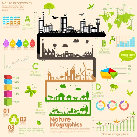 information symbol: illustration of tree in sustainability infographic