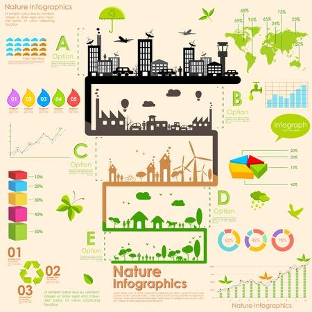 calentamiento global: ilustración de árbol en infografía sostenibilidad