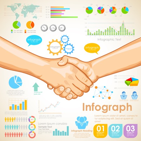 business relationship: illustration of Business Infographics Chart showing partnership