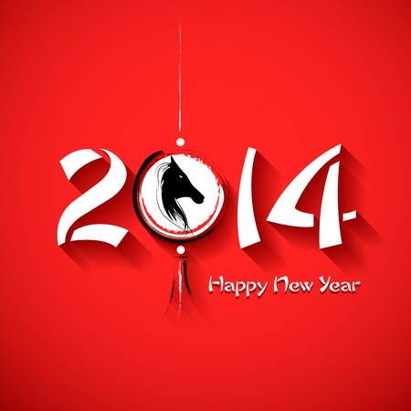illustration of Happy New Year 2014 - Year of the Horse Vector