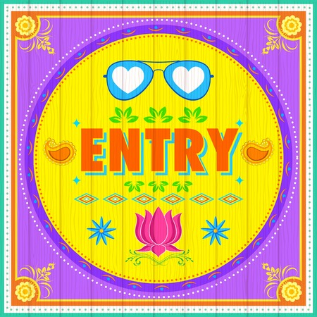 safety goggles: illustration of Entry Poster India truck paint style Illustration