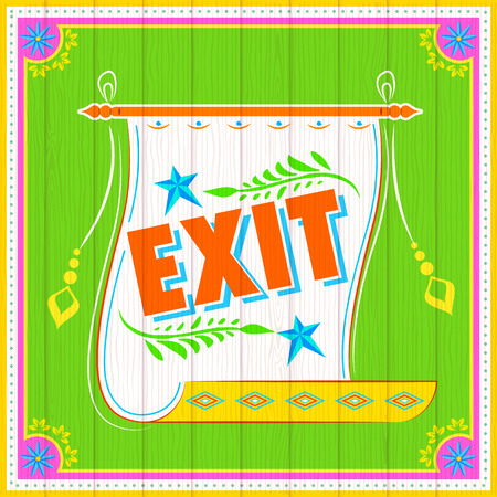 emergency exit: illustration of Exit Poster India truck paint style Illustration