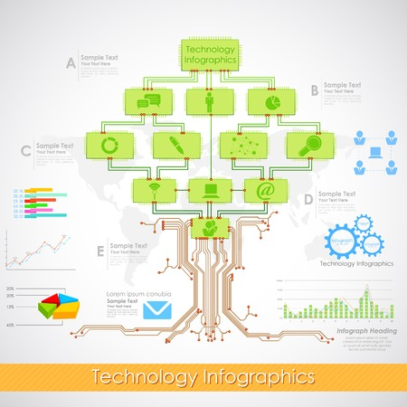 semiconductors: illustration of technology infographics with electronic chip tree