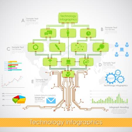 ilustración de infografía de tecnología con el árbol de chip electrónico
