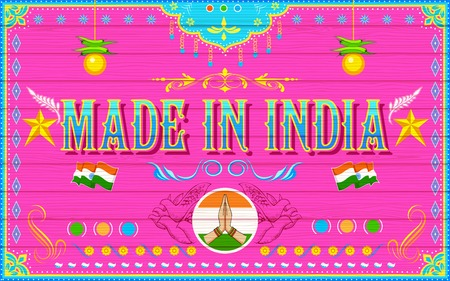 illustration of Made in India Background Vector