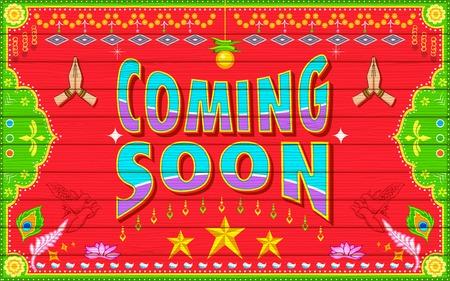 soon: illustratie van Coming Soon achtergrond in de Indische vrachtwagen verf stijl Stock Illustratie
