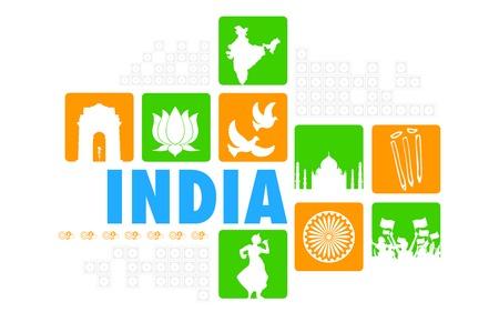 ashok: illustration of India background showing its culture