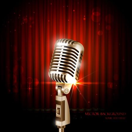 mic: illustrazione di Vintage microfono contro sfondo sipario