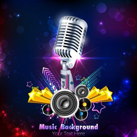 Illustration de cru Microphone sur fond musical Banque d'images - 25737514
