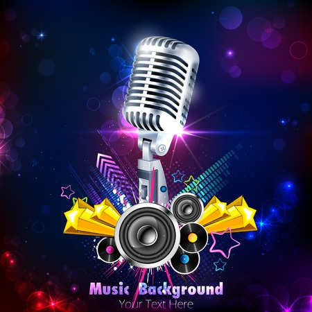 illustration of Vintage Microphone on musical background