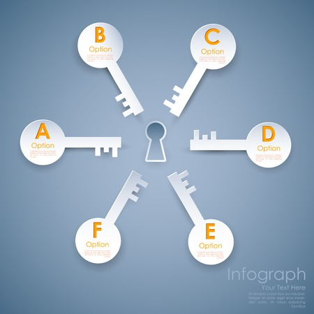 key hole: illustration of different option key around keyhole of success infograph Illustration
