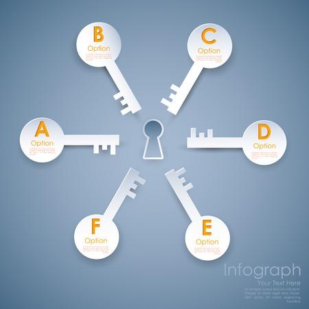 option key: illustration of different option key around keyhole of success infograph Illustration