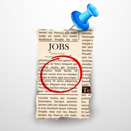 classified ad: illustration of job classified in newspaper Illustration