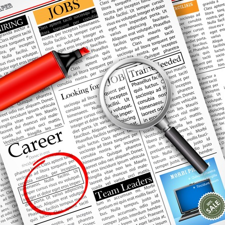 classified: illustration of searching job in newspaper with magnifying glass